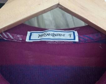 Vintage Yvessaintlauren colour block pocket tee collar/large/italy design/milan/milano