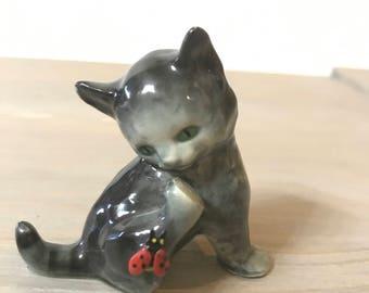 Vintage Goebel Cat Figurine Kitten Ladybug Collectible West Germany
