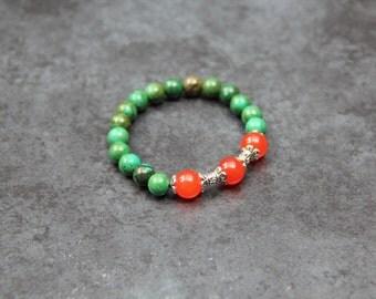Orange and green Chalcedony Bracelet