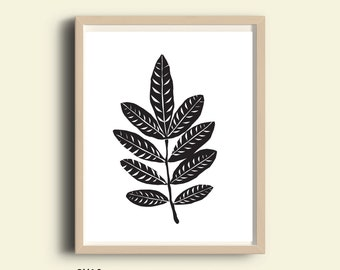 Leaves Wall Art, printable wall art, art print, nature leaves decor, wall art, digital, black and white wall art, last minute gift, bedroom