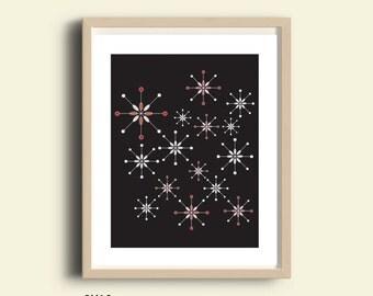 Abstract art print, black white red, printable decor, retro abstract, atomic stars, mid century, home decor wall hanging, Scandinavian art