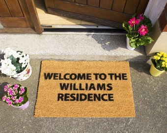 Custom Personalised - Welcome, Family, Mr & Mrs Doormat - Perfect Wedding present
