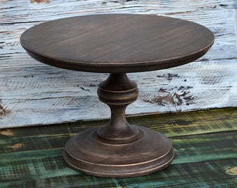 "12"" Brown Cake Stand Wood Cake Stand Wedding Cake Stand Sweets table decor Cake Pedestal Rustic"