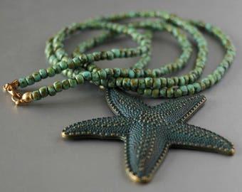 Starfish necklace, starfish pendant, boho necklace, bohemian necklace, long necklace, green patina starfish, boho jewelry, seed beads jewels