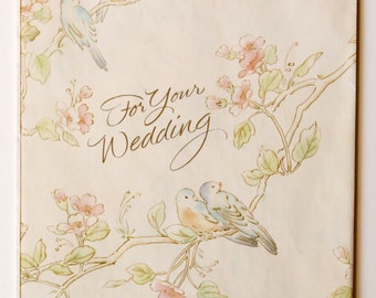 """Vintage Wedding Love Birds Gift Wrapping Paper, 1 Sheet, 30"""" x 20"""" Pastel Colors"""