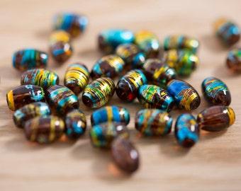 32 count 12mm dark orange taupe druk glass round metallic ball beads with gold blue and