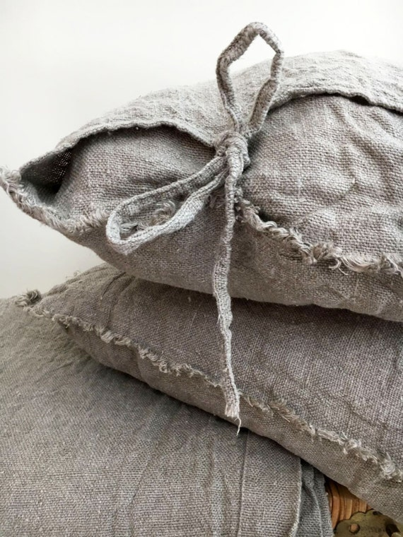Burlap Pillow Covers Farmhouse Shams Throw Pillow By Linenbees