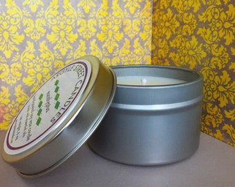 SALE Soy Candle Essential Oil Eucalyptus Tin Container Candle Handmade
