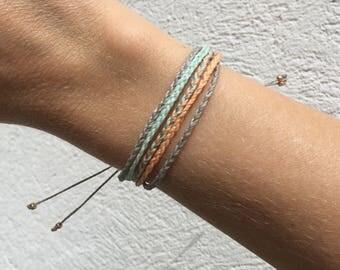 READY TO SHIP   Braided multistrand bracelet, Coral Bracelet, Mint Green Bracelet, Bridesmaids Gift, pura vida bracelet, Costa Rica jewelry