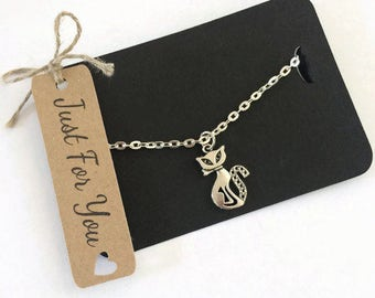 Cat Lovers Gift Silver Plated Necklace