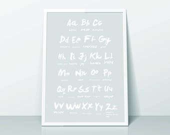 Zillion Reasons You Are Loved Alphabet Print (A3 & A4) Grey/White
