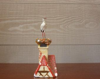 Small Stork on a fireplace, 1950s vintage