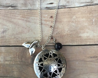 Whale Tail and Blue Goldstone Gemstone Essential Oil Diffuser Locket Pendant Necklace Healing long pendant necklace Essential Oil necklace