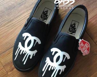 Custom Chanel Drip Slip On Vans