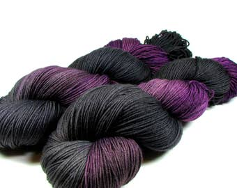 Hand Dyed Sock Yarn, Self-Striping, Fingering Wt, Purple, Black, Charcoal Gray, SW Merino Wool, 463 yds, Grapes of Wraith, Dyed to Order