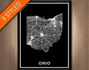 Roads of Ohio map art   Printable Ohio map print, Ohio map, Ohio print, Ohio poster, Ohio art, Ohio gift, Printable poster map, Wall art map