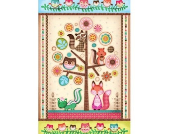 Designer Cotton fabric Friendly Forest - panel 60cm x 110cm