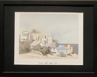 Mounted and framed Buffett print, 12''x16'' framed, Santa Catalina by William Buffett