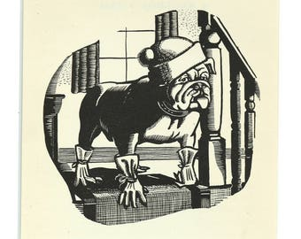 Boxer Dog' wood cut vintage print