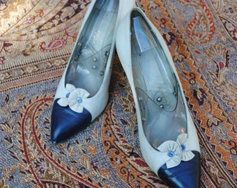 Bicolor leather pumps 50s