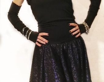 Rock Couture purple satin and Black Lace Skirt-For Alternative Women, skirt, skirt, lace skirt, skirt rock