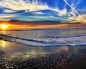 Photo Art, Photographic Print, Seascape with blue and red fiery  skies and white clouds. Fantastic gift for her or him.