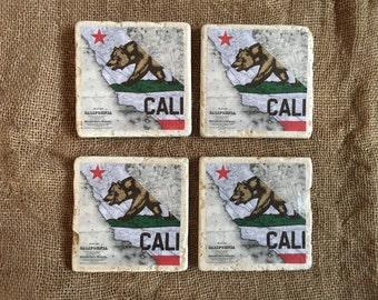 Vintage California Republic Flag Coaster Set, Tile Coasters, Drink Coasters, Travertine Coasters, Souvenir Coaster