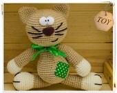 Crochet Cat Toy, Amigurumi Cat Toy, Crochet Beige Cat, Cat Stuffed Toy, Crochet Brown Kitty, Crochet Cat with Ribbon, Amigurumi Soft Toy