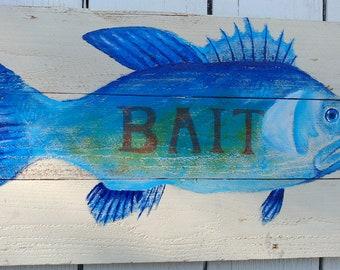 Handpainted fish, Beach Cottage decor, Fish on recycled cedar, Costal decor