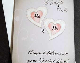 Mrs and Mrs Card - Wedding Card for Lesbian Couple, Lesbian Wedding Card, Same sex marriage, Gay greeting card, I Love you card
