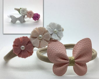 DIY Headband Kit, Baby Headband, Baby Bow Headband, Butterfly Headband, Felt Flower Headband.