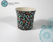 Cache pot en porcelaine fabriqué et décoré 100% fait main