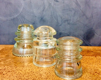 Vintage Electric Insulators set of Three (3) antique glass electric covers