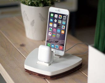 NytStnd AIRPODS DUO 1 White - FREE Shipping Dock Charging Station Wireless for iPhone 8 AirPods Birthday Gift Present