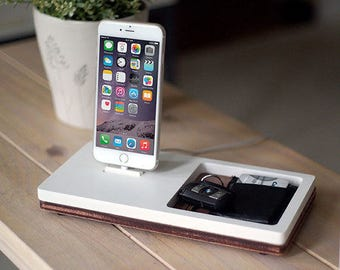 NytStnd TRAY 1 White - FREE SHIPPING Charging Station Wireless iPhone 8 Oak Wood Christmas Birthday Gift Present