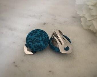 Blue Earrings. Dark Blue Leaf Print. Handmade Earrings. Fabric Covered Button Earrings. Stud Earrings. Drop Earrings. Clip On Earrings.