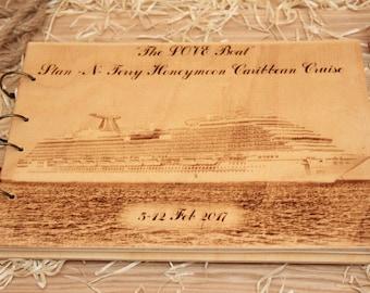 Photo album,Personalized Album, Wood Album,Caribbean cruise, Carnival Breeze.
