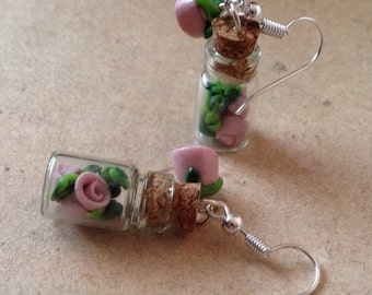 Earrings Roses in the bottle