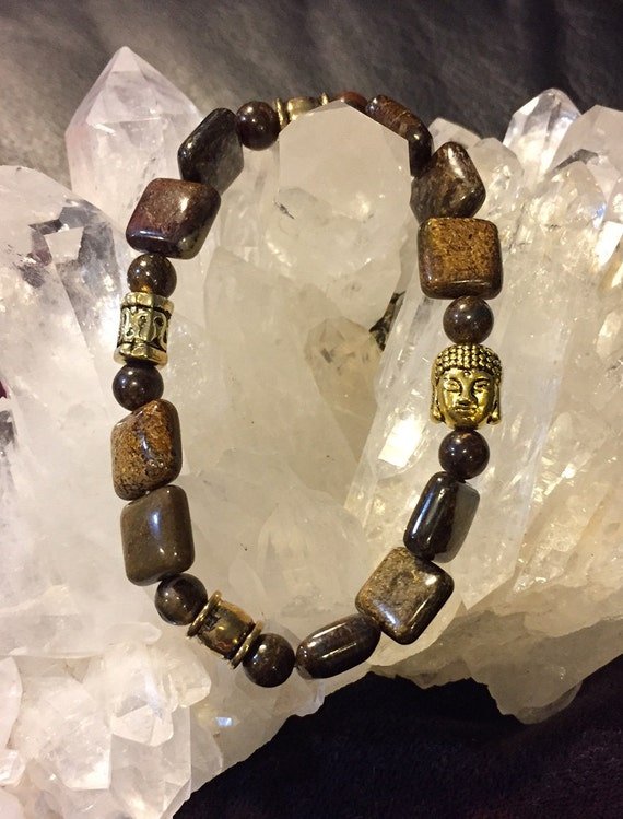 Bronzite Buddha Beaded Bracelet with Gold accents
