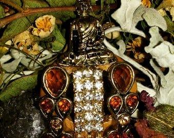 The Buddha - Buddhist Necklace - Wood and Gemstone Necklace - Buddha Pendant Necklace - Gemstone Necklace - Handmade Necklace