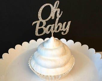 Set of 12, Oh Baby Cupcake Topper, baby boy cupcake topper, baby boy shower cupcake topper