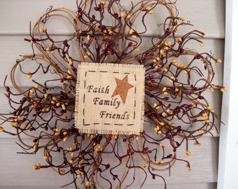 """Faith Family Friends Primtive Country Wreath 12"""" Pip Berry burgundy~red mustard"""