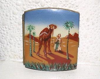 Vintage Brass and Enamel Cigarette Case - Beautiful Unusual Camel Design