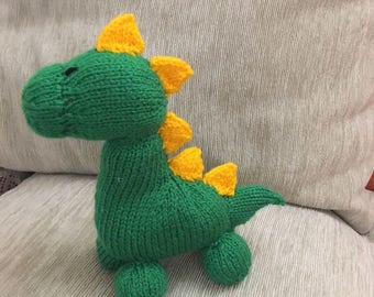 Hand knitted CE tested Green Dinosaur