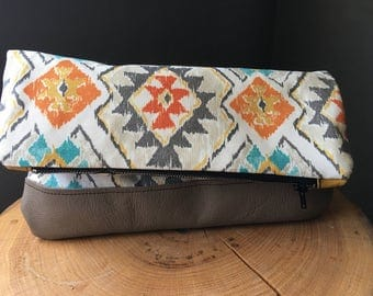 Leather bottom Fold Over Clutch Essential Oil Bag Aztec