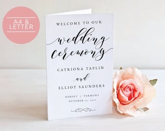 Folded Wedding Program- Instant Download Printable- Editable PDF-DIY Template-Calligraphy Template-Printable Wedding Program-#SN029_FP