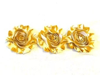 """Gold Design Gorgeous Shabby Frayed Chiffon Flower Rosettes 3 x 2.5"""", hair bands, clips, crafts etc"""