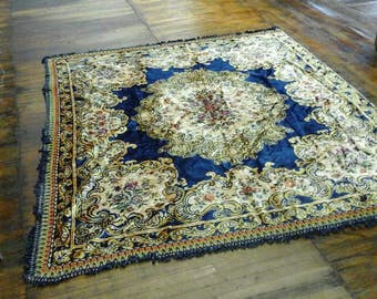 Antique Blue & Tan Floral Paint Rug Intricate with Tassels