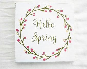 Spring home decor, spring sign, hello spring