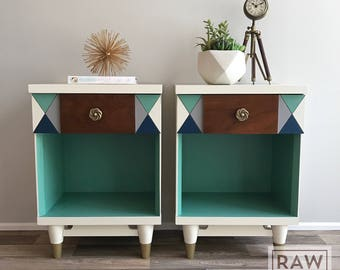 SOLD****Mid-Century Modern Night Stands / White / Turquoise